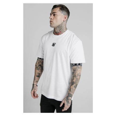 SIK SILK Pánske biele tričko SikSilk S/S Inset Cuff Essential