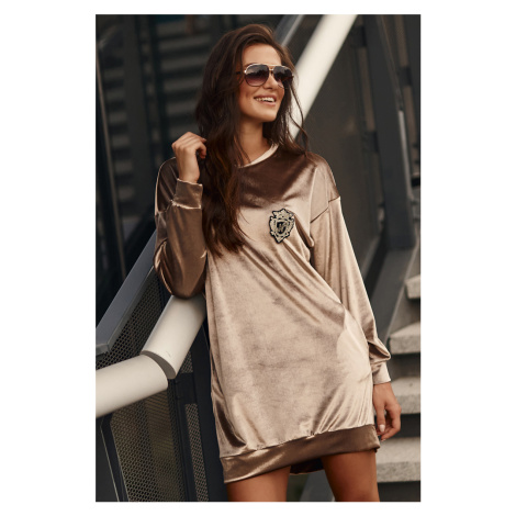 Béžové zamatové šaty s dlhým rukávom NU302 Numinou