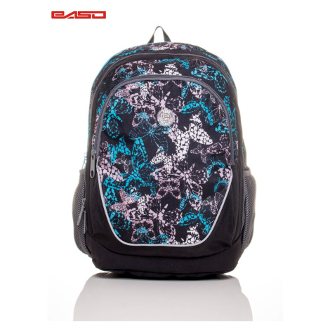 School backpack with a butterfly print
