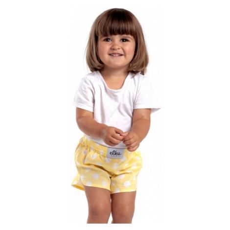 Žlté s bielymi veľkými bodkami detské