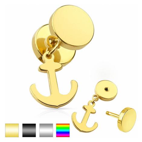 Nepravý plug do ucha z chirurgickej ocele, lesklé kruhy, visiaca kotva - Farba piercing: Zlatá