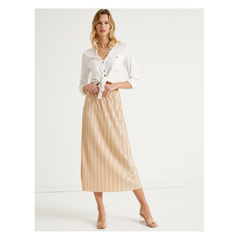 Koton Women Ecru Midi Length Pleated Skirt