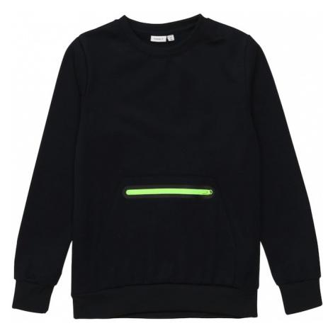 NAME IT Mikina 'Vian'  neónovo zelená / čierna