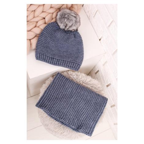 Modrý set čiapka + šál Hello Winter Art of Polo