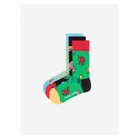 Keith Haring Ponožky 3 páry Happy Socks Čierna