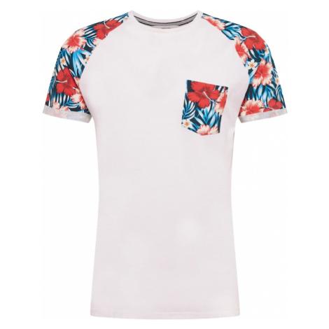 !Solid Tričko 'Ruel'  biela / petrolejová / červená
