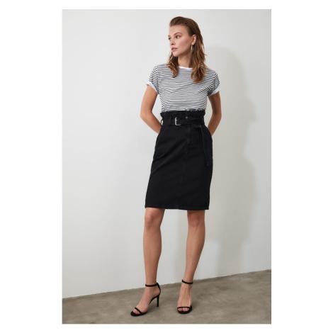 Trendyol Black Belt Midi Denim Skirt