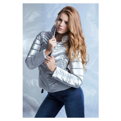 Guess strieborná zimná bunda Foil Nylon Jacket