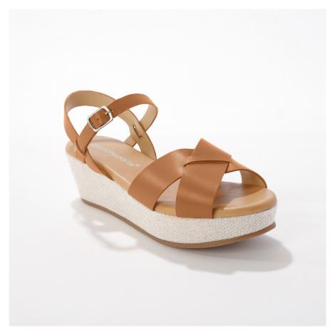 Blancheporte Kožené sandále na platforme, karamelové karamelová