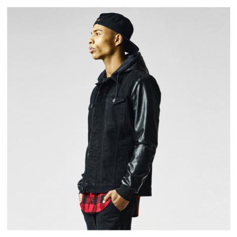 Urban Classics Hooded Denim Leather Imitation Jacket blk/blk - Veľkosť:L