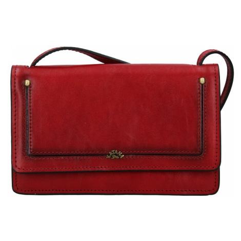 Kožená dámska crosbody kabelka Katana Nicca - tmavo červená