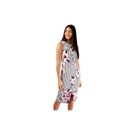 Closet London Dámske šaty Floral and Striped Wrap Pencil Dress Ivory
