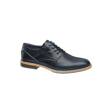 Tmavomodrá kožená spoločenská obuv AM SHOE