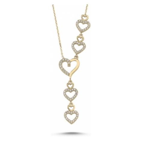 OLIVIE Srdiečkový strieborný náhrdelník GOLD 3855