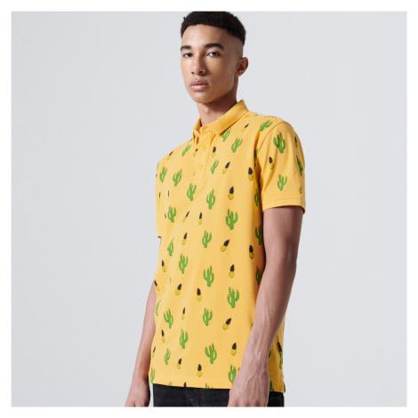 Cropp - Tričko polo s celoplošnou potlačou - Oranžová
