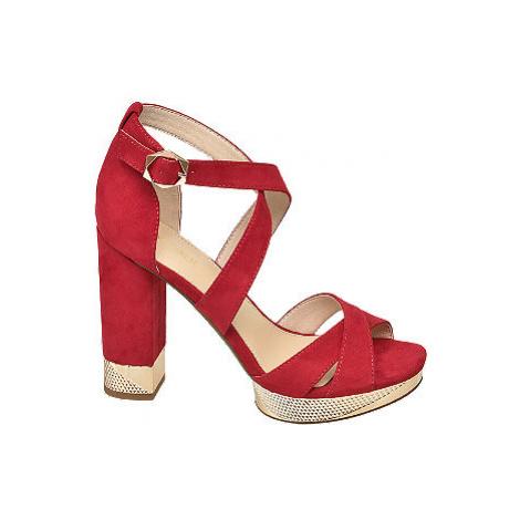 Červené sandále na podpätku Catwalk