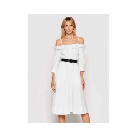 KARL LAGERFELD Košeľové šaty Cold Shoulder 211W1303 Biela Regular Fit