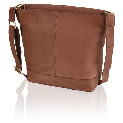 Lazzarini hladká koža taška cez rameno hnedá