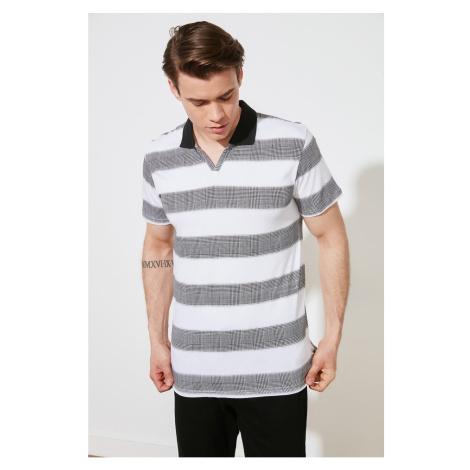 Trendyol White Men's Regular Fit Striped Short Sleeve Polo Neck T-shirt
