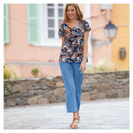 Blancheporte 7/8 denimové nohavice zapraná modrá svetlá