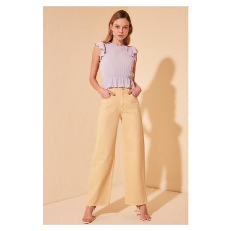 Trendyol Yellow Wash High Waist Wide Leg Jeans Yellow
