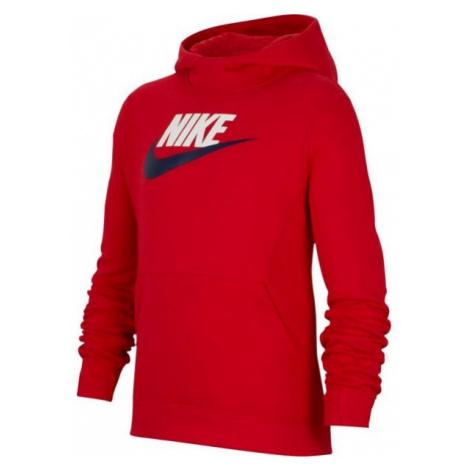 Nike NSW PO HOODIE CLUB FLC HBR červená - Chlapčenská mikina