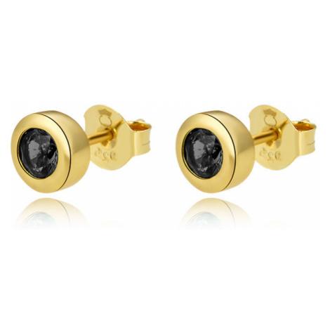 Beneto Pozlátené náušnice kôstky zo striebra s čiernymi zirkónmi AGUP2259-GOLD