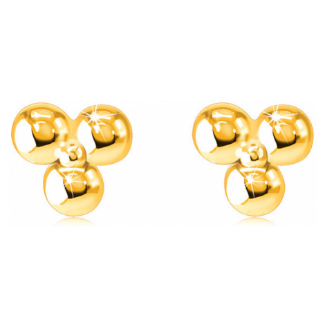 Náušnice z 9K zlata - tri guličky spojené menšou lesklou guličkou, puzetky