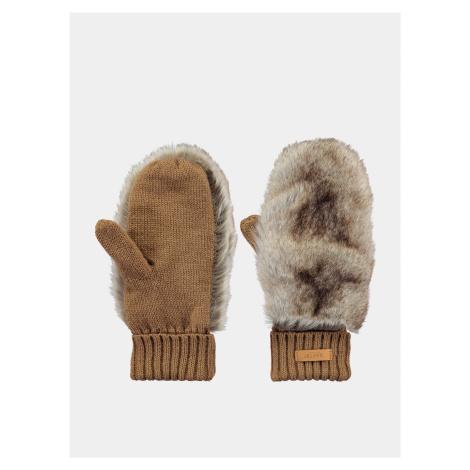 Hnedé dámske rukavice s umelým kožúškom Barts