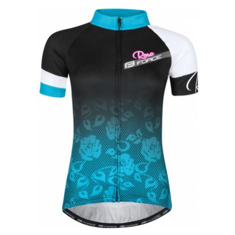 Dámsky Cyklistický Dres S Krátkym Rukávom Force Rose Čierno-Modrý