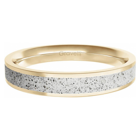 Gravelli Prsteň s betónom Fusion Thin zlatá / šedá GJRWYGG101 mm