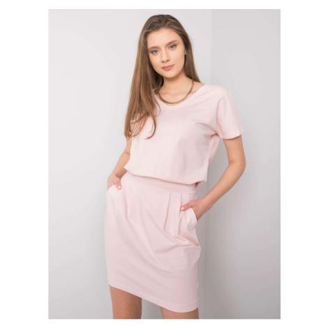 RUE PARIS Light pink dress with a belt