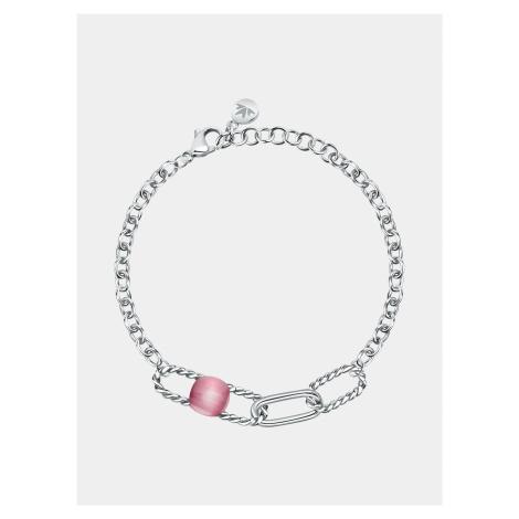 Náramok v striebornej farbe s ružovým kameňom Morellato