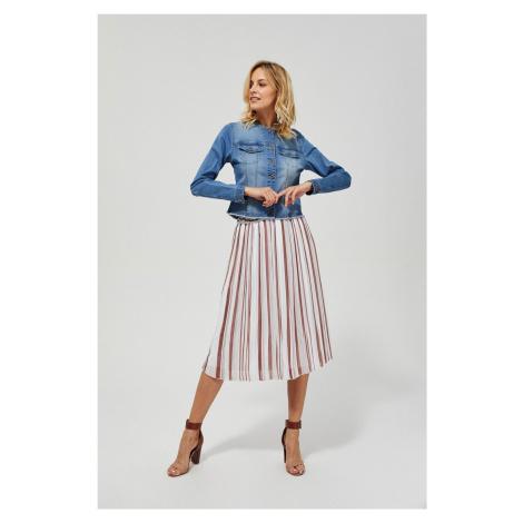 Moodo plisovaná midi sukňa s pruhmi