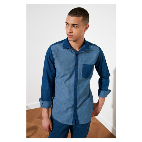 Trendyol Navy Blue Men Slim Fit Single Pocket PanelEd Shirt