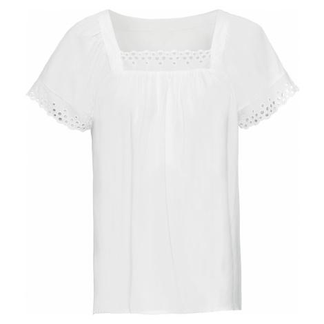 Blúzkové tričko s dierkovanou čipkou bonprix