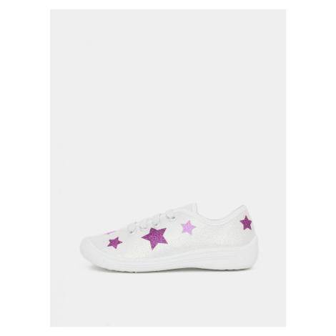 White Girly Glitter Sneakers 3F