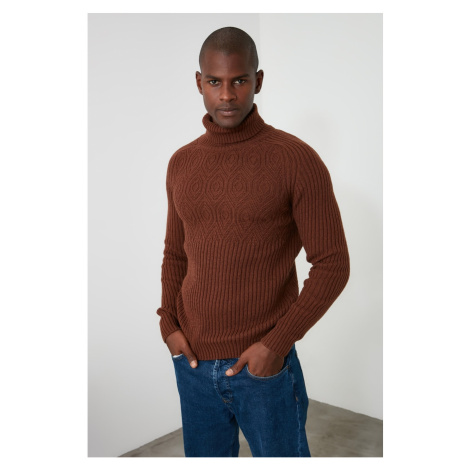 Trendyol Tile Men's Tissue Paneled Fishcho Collar Sweater