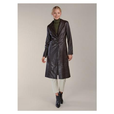 Tmavohnedý kožený kabát KARA