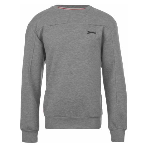Slazenger Fleece Crew Sweater Junior Boys Grey Marl