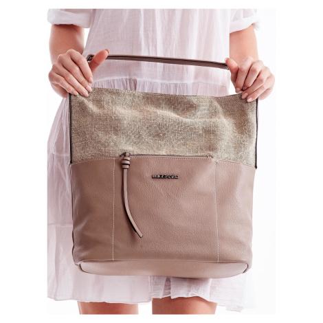 Veľká béžová kabelka s plátenou časťou