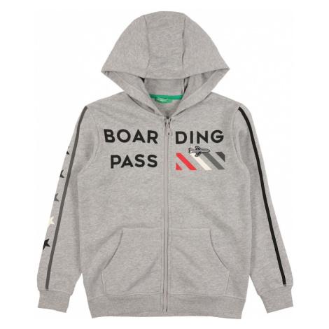 UNITED COLORS OF BENETTON Tepláková bunda  sivá melírovaná / čierna / svetločervená / biela
