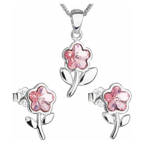 Sada šperkov s krištálmi Swarovski náušnice,retiazka a prívesok ružová kytička 39172.3 light ros
