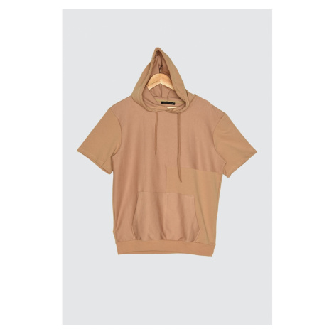 Trendyol Camel Men's Short Sleeve Hooded Regular Fit Sweatshirt