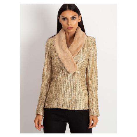 Zlatá dámska bunda s kožušinou