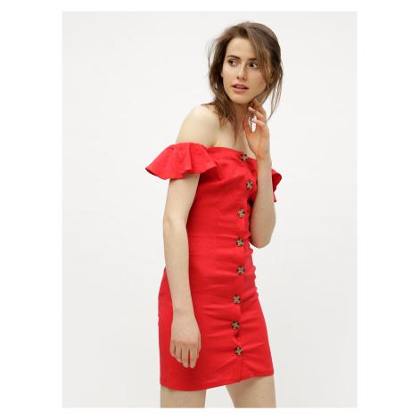 Červené ľanové šaty s odhalenými ramenami Miss Selfridge Button
