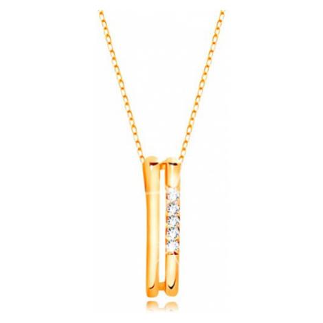 Náhrdelník v žltom 14K zlate - dva tenké zvislé prúžky, línia čírych zirkónov
