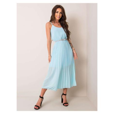 Svetlomodré plisované midi šaty