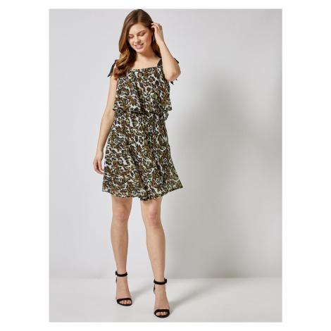 Kaki šaty s leopardím vzorom Dorothy Perkins