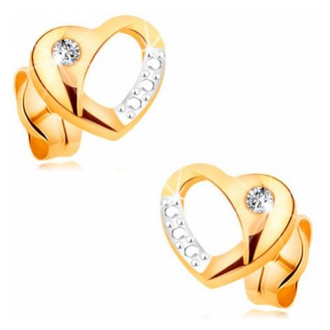 Briliantové náušnice zo 14K zlata - dvojfarebné srdiečko s výrezom a diamantom